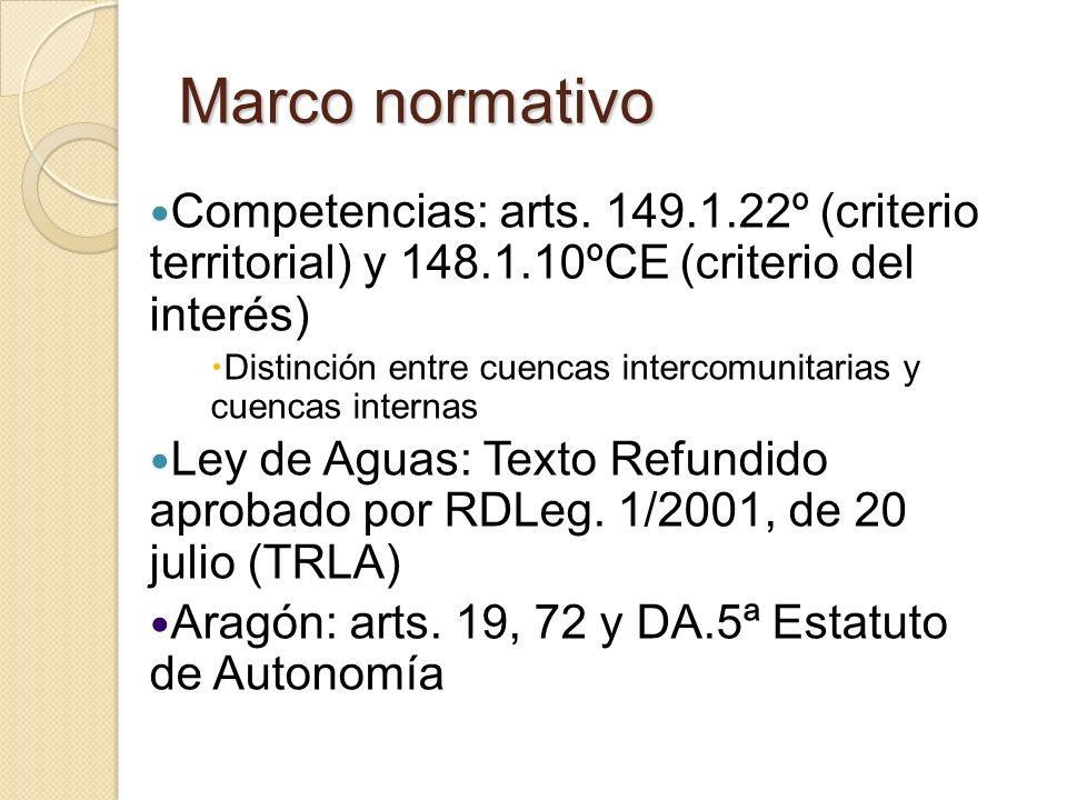Marco normativo Competencias: arts. 149.1.22º (criterio territorial) y 148.1.10ºCE (criterio del interés) Distinción entre cuencas intercomunitarias y
