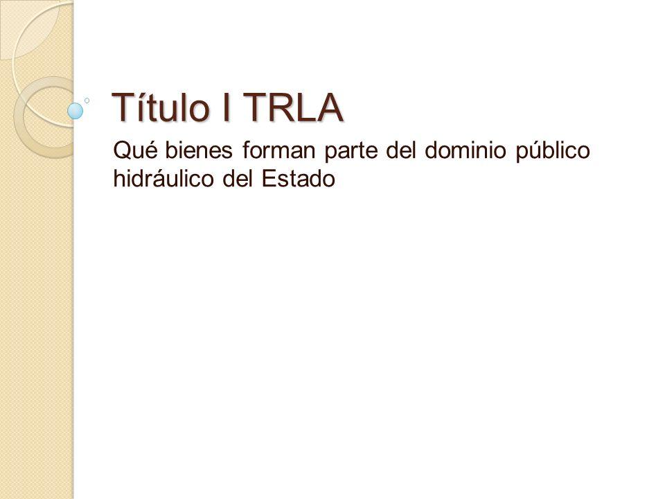 Título I TRLA Qué bienes forman parte del dominio público hidráulico del Estado