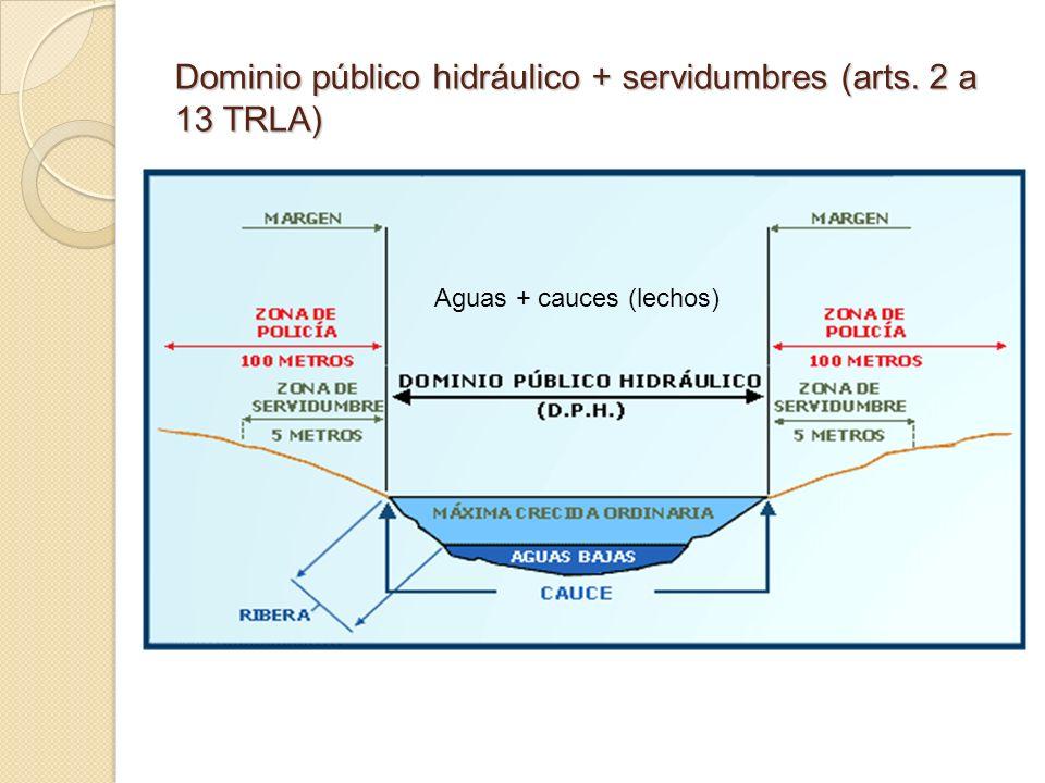 Dominio público hidráulico + servidumbres (arts. 2 a 13 TRLA) Aguas + cauces (lechos)
