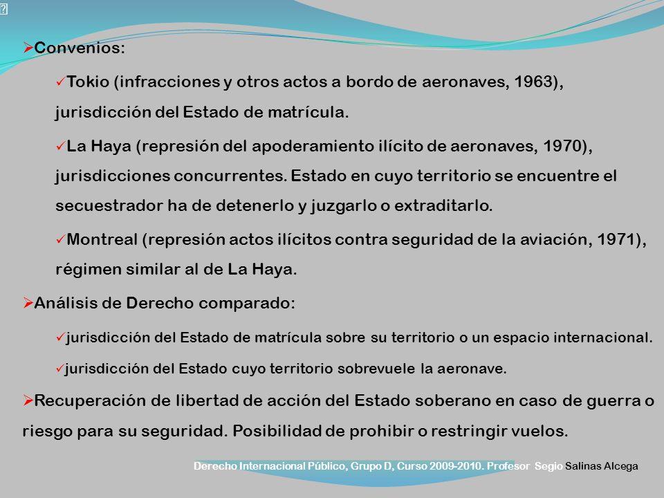 Derecho Internacional Público, Grupo D, Curso 2009-2010. Profesor Segio Salinas Alcega Convenios: Tokio (infracciones y otros actos a bordo de aeronav