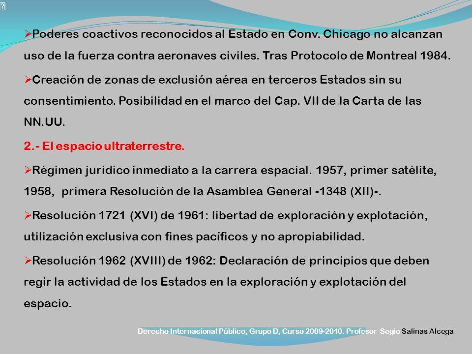 Derecho Internacional Público, Grupo D, Curso 2009-2010. Profesor Segio Salinas Alcega Poderes coactivos reconocidos al Estado en Conv. Chicago no alc