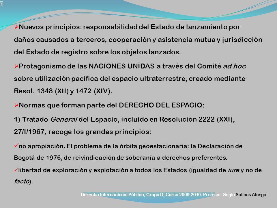 Derecho Internacional Público, Grupo D, Curso 2009-2010. Profesor Segio Salinas Alcega Nuevos principios: responsabilidad del Estado de lanzamiento po