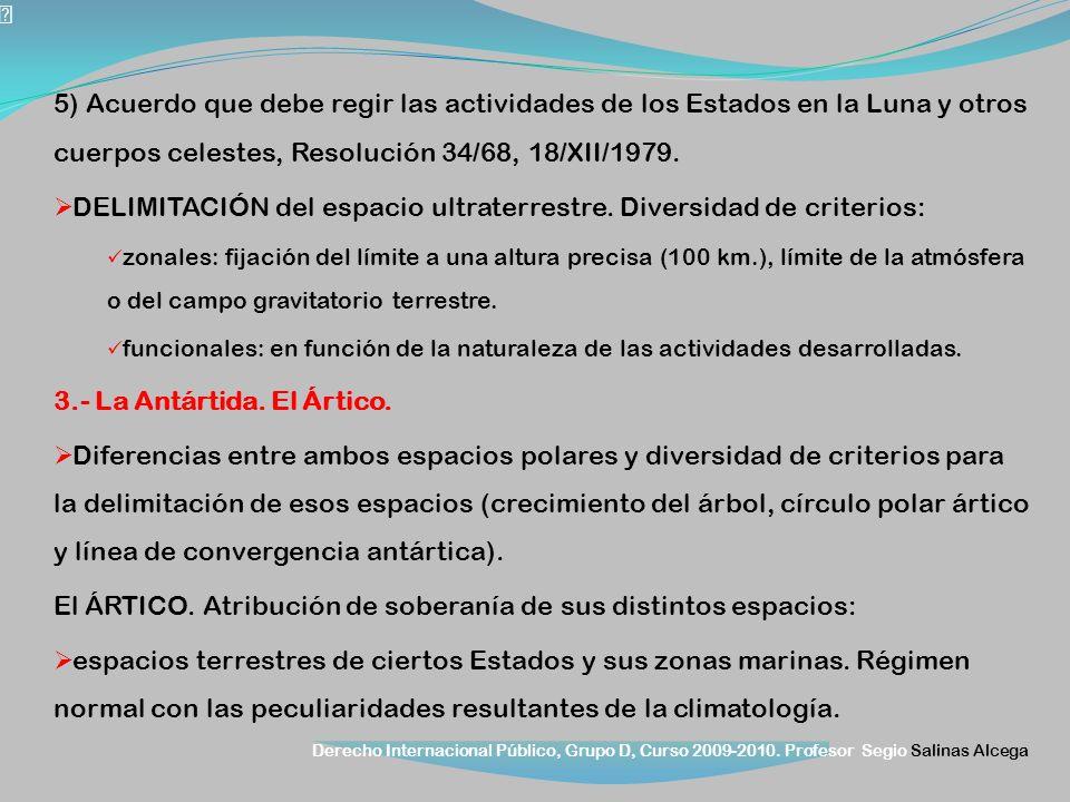Derecho Internacional Público, Grupo D, Curso 2009-2010. Profesor Segio Salinas Alcega 5) Acuerdo que debe regir las actividades de los Estados en la