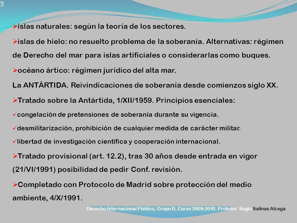 Derecho Internacional Público, Grupo D, Curso 2009-2010. Profesor Segio Salinas Alcega islas naturales: según la teoría de los sectores. islas de hiel