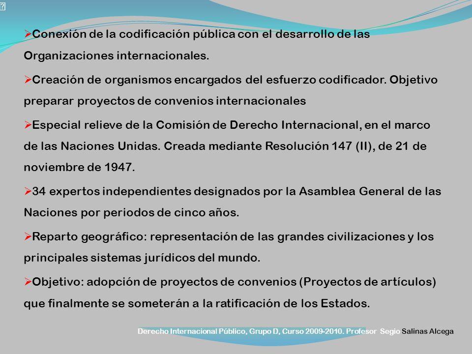 Derecho Internacional Público, Grupo D, Curso 2009-2010. Profesor Segio Salinas Alcega Conexión de la codificación pública con el desarrollo de las Or