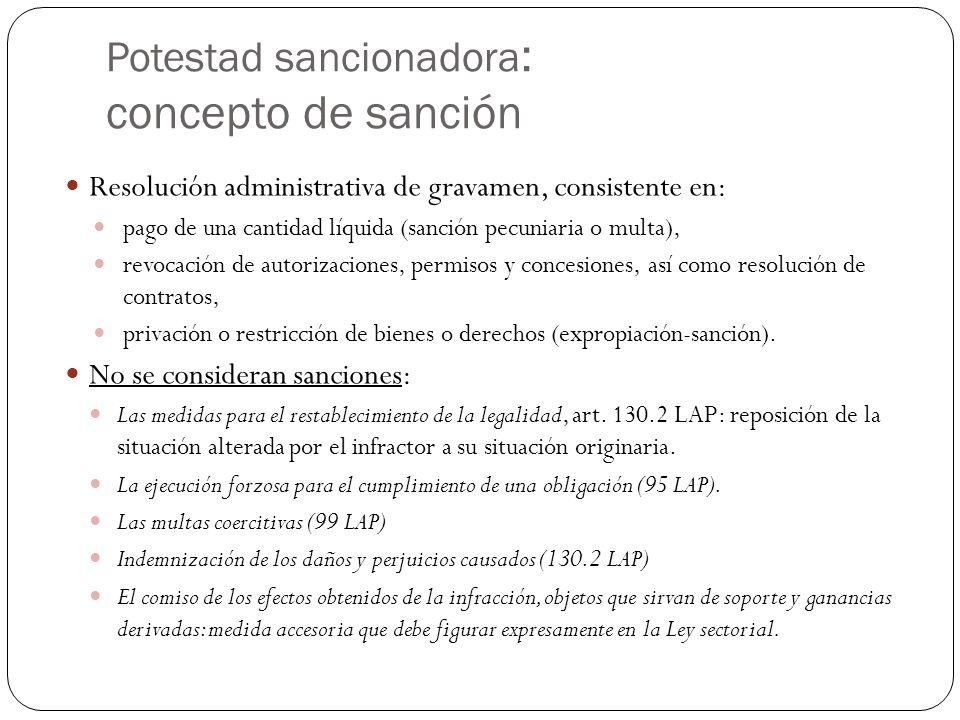 Potestad sancionadora : concepto de sanción Resolución administrativa de gravamen, consistente en: pago de una cantidad líquida (sanción pecuniaria o multa), revocación de autorizaciones, permisos y concesiones, así como resolución de contratos, privación o restricción de bienes o derechos (expropiación-sanción).