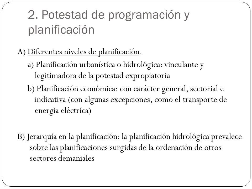 2. Potestad de programación y planificación A) Diferentes niveles de planificación. a) Planificación urbanística o hidrológica: vinculante y legitimad