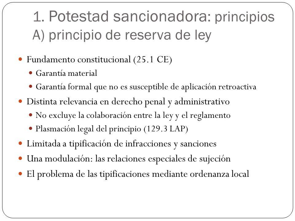 1. Potestad sancionadora : principios A) principio de reserva de ley Fundamento constitucional (25.1 CE) Garantía material Garantía formal que no es s