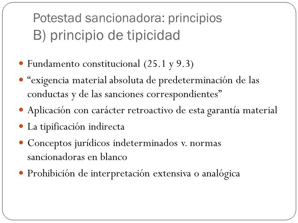 Potestad sancionadora: principios B) principio de tipicidad Fundamento constitucional (25.1 y 9.3) exigencia material absoluta de predeterminación de