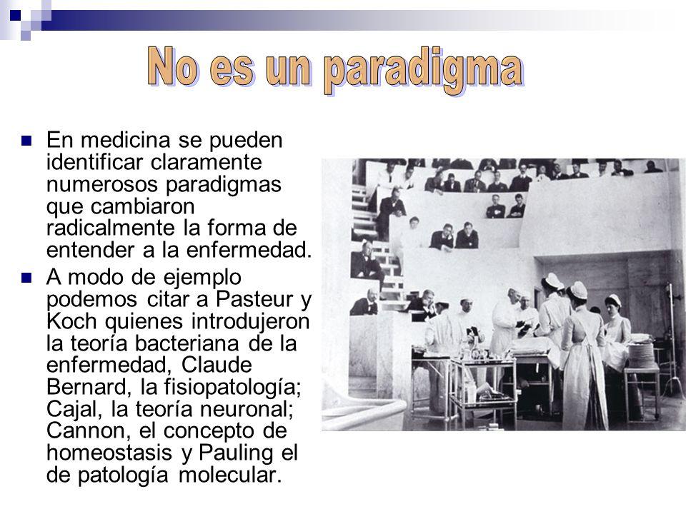 En medicina se pueden identificar claramente numerosos paradigmas que cambiaron radicalmente la forma de entender a la enfermedad. A modo de ejemplo p