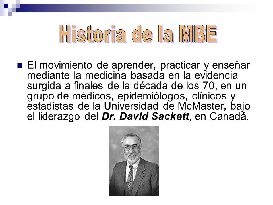 El movimiento de aprender, practicar y enseñar mediante la medicina basada en la evidencia surgida a finales de la década de los 70, en un grupo de mé