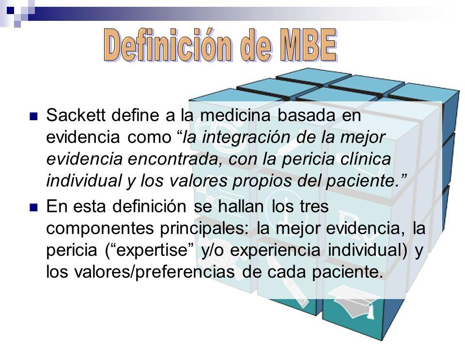 Sackett define a la medicina basada en evidencia como la integración de la mejor evidencia encontrada, con la pericia clínica individual y los valores