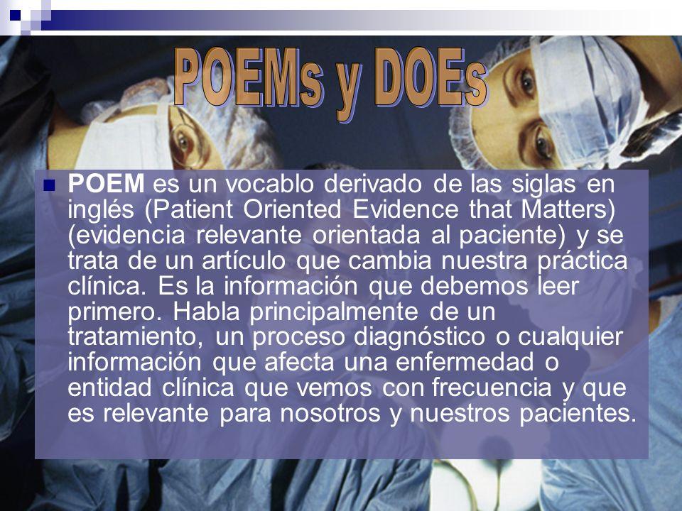 POEM es un vocablo derivado de las siglas en inglés (Patient Oriented Evidence that Matters) (evidencia relevante orientada al paciente) y se trata de