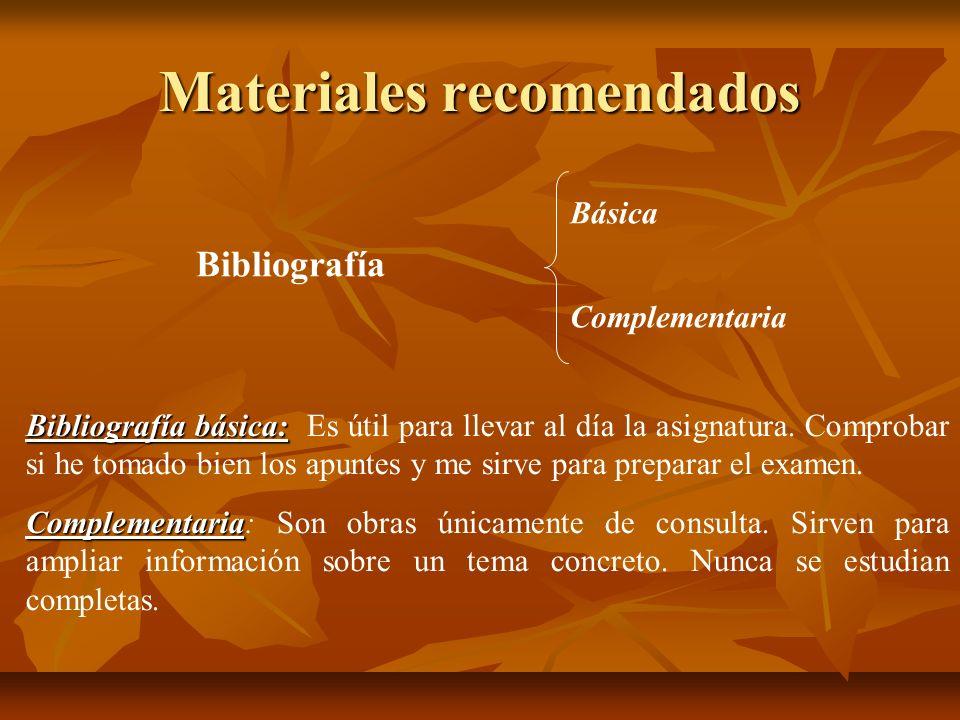 Materiales recomendados Bibliografía Básica Complementaria Bibliografía básica: Bibliografía básica: Es útil para llevar al día la asignatura. Comprob