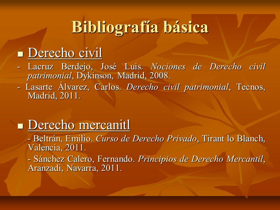 Bibliografía básica Derecho civil Derecho civil - Lacruz Berdejo, José Luis. Nociones de Derecho civil patrimonial, Dykinson, Madrid, 2008. - Lasarte