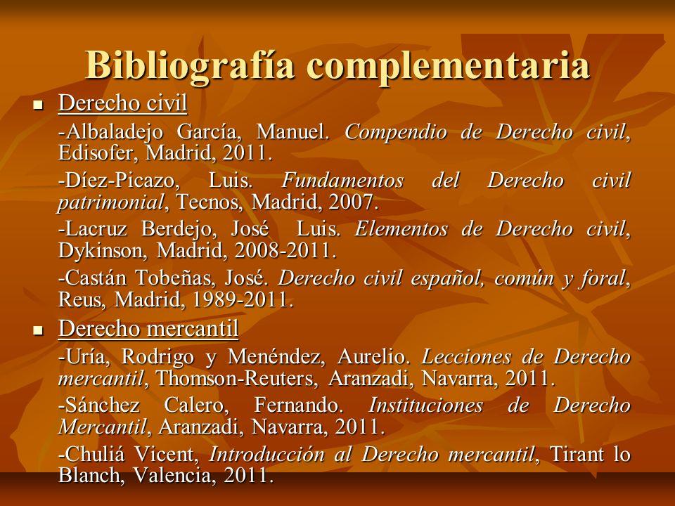 Bibliografía complementaria Derecho civil Derecho civil -Albaladejo García, Manuel. Compendio de Derecho civil, Edisofer, Madrid, 2011. -Díez-Picazo,