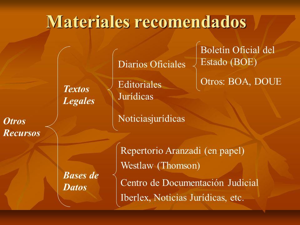Materiales recomendados Otros Recursos Textos Legales Bases de Datos Diarios Oficiales Editoriales Jurídicas Noticiasjurídicas Repertorio Aranzadi (en