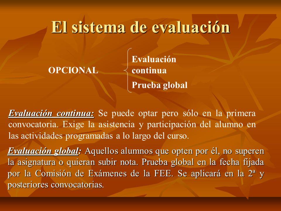 El sistema de evaluación OPCIONAL Evaluación continua Prueba global Evaluación continua: Evaluación continua: Se puede optar pero sólo en la primera c