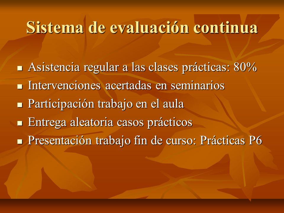 Sistema de evaluación continua Asistencia regular a las clases prácticas: 80% Asistencia regular a las clases prácticas: 80% Intervenciones acertadas