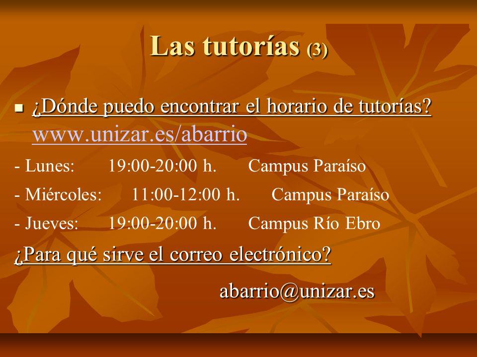 Las tutorías (3) ¿Dónde puedo encontrar el horario de tutorías? ¿Dónde puedo encontrar el horario de tutorías? www.unizar.es/abarrio www.unizar.es/aba