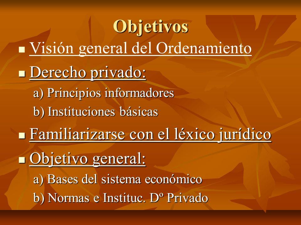 Objetivos Visión general del Ordenamiento Derecho privado: Derecho privado: a) Principios informadores b) Instituciones básicas Familiarizarse con el
