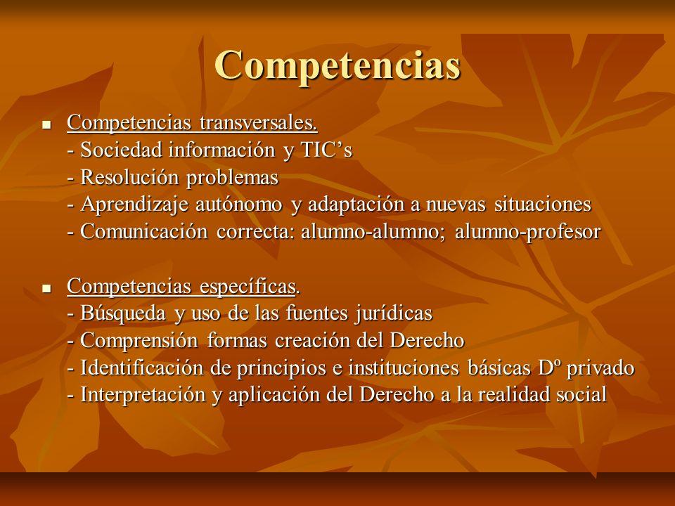 Competencias Competencias transversales. Competencias transversales. - Sociedad información y TICs - Resolución problemas - Aprendizaje autónomo y ada