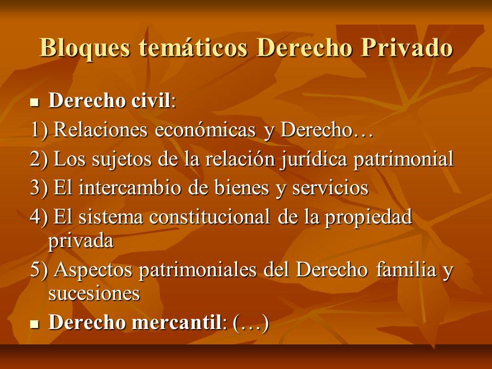 Bloques temáticos Derecho Privado Derecho civil: Derecho civil: 1) Relaciones económicas y Derecho… 2) Los sujetos de la relación jurídica patrimonial