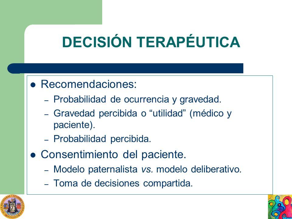 DECISIÓN TERAPÉUTICA Recomendaciones: – Probabilidad de ocurrencia y gravedad. – Gravedad percibida o utilidad (médico y paciente). – Probabilidad per