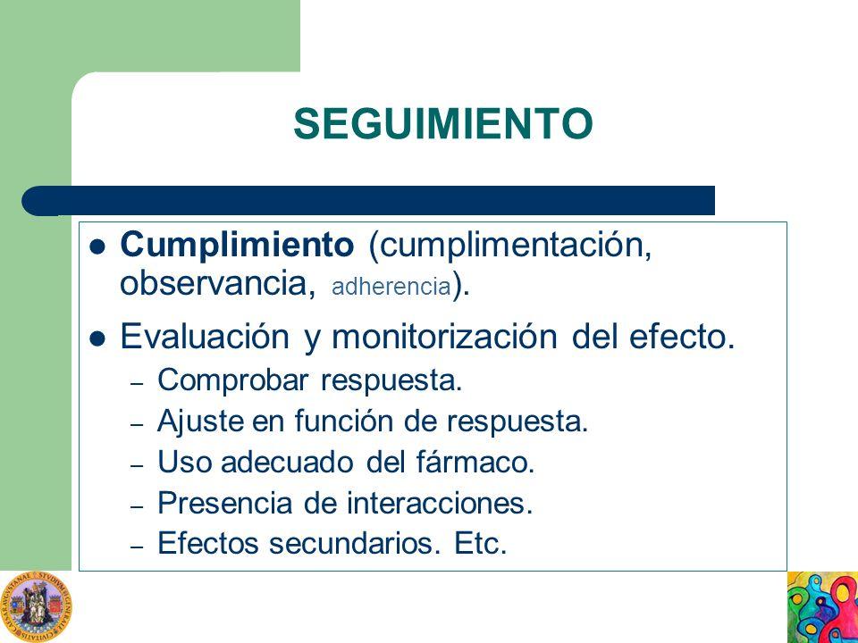 SEGUIMIENTO Cumplimiento (cumplimentación, observancia, adherencia ). Evaluación y monitorización del efecto. – Comprobar respuesta. – Ajuste en funci