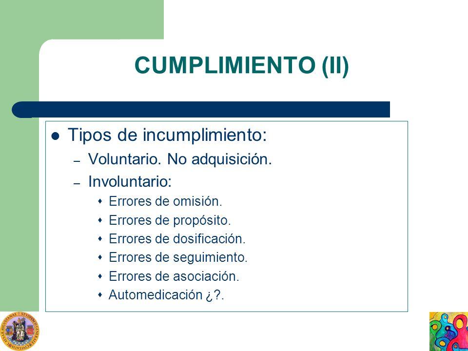 CUMPLIMIENTO (II) Tipos de incumplimiento: – Voluntario. No adquisición. – Involuntario: Errores de omisión. Errores de propósito. Errores de dosifica