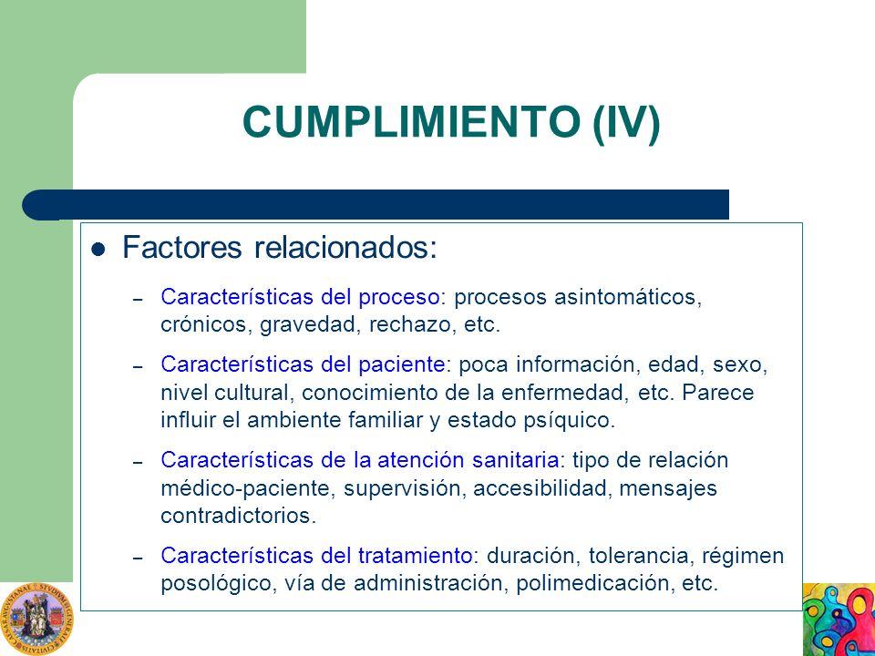 CUMPLIMIENTO (IV) Factores relacionados: – Características del proceso: procesos asintomáticos, crónicos, gravedad, rechazo, etc. – Características de
