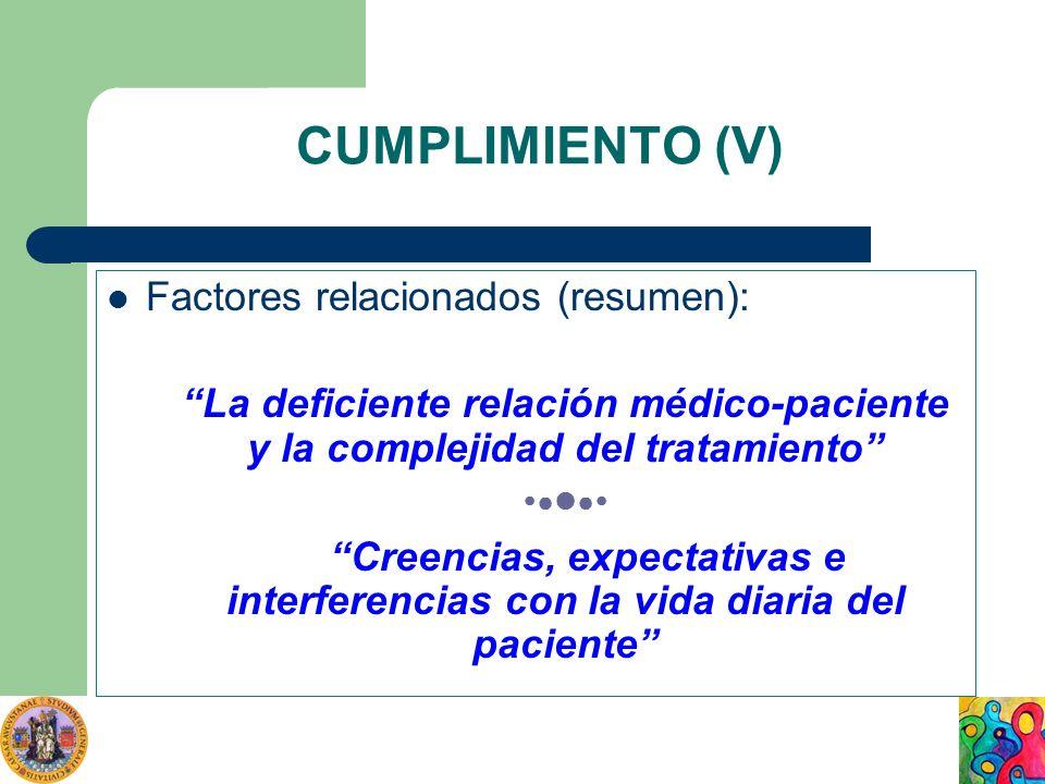 CUMPLIMIENTO (V) Factores relacionados (resumen): La deficiente relación médico-paciente y la complejidad del tratamiento Creencias, expectativas e in