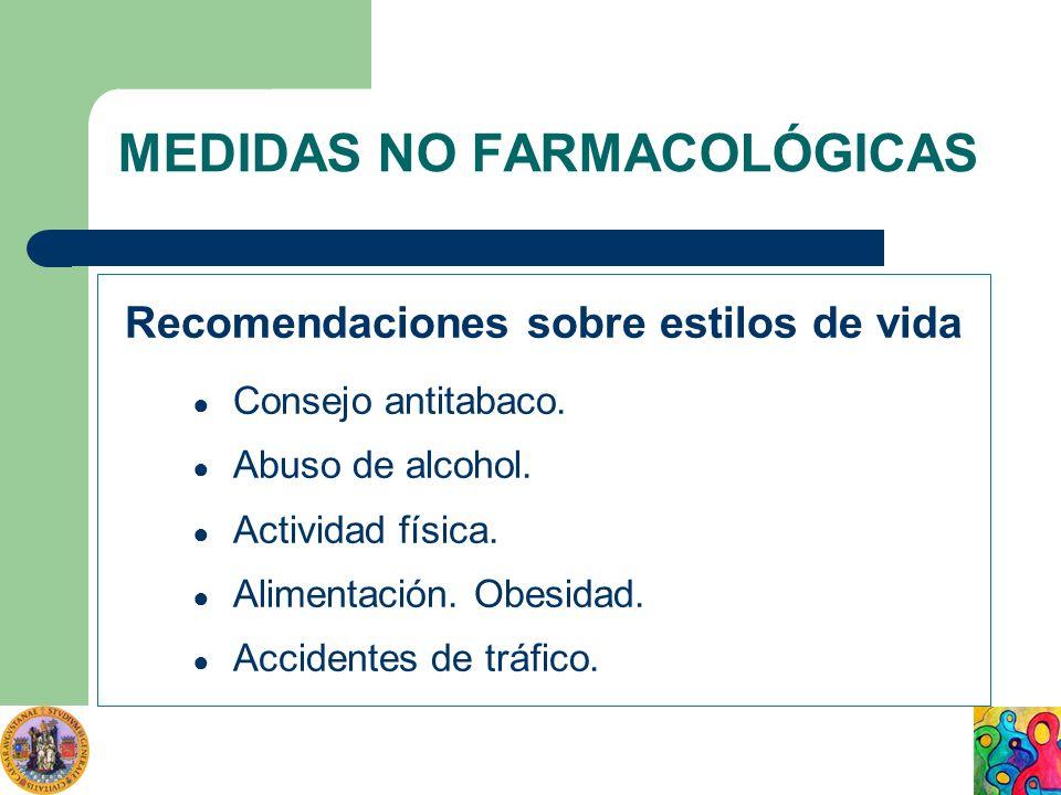 MEDIDAS NO FARMACOLÓGICAS Recomendaciones sobre estilos de vida Consejo antitabaco. Abuso de alcohol. Actividad física. Alimentación. Obesidad. Accide