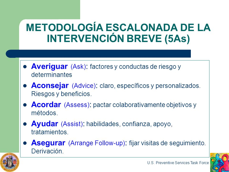 METODOLOGÍA ESCALONADA DE LA INTERVENCIÓN BREVE (5As) Averiguar (Ask) : factores y conductas de riesgo y determinantes Aconsejar (Advice) : claro, esp