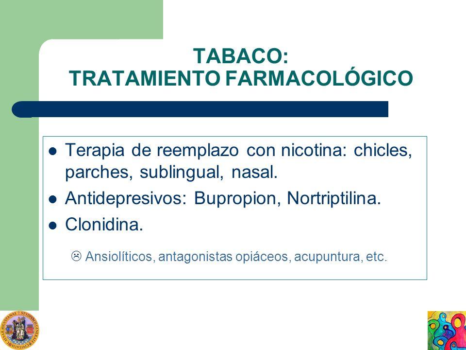 TABACO: TRATAMIENTO FARMACOLÓGICO Terapia de reemplazo con nicotina: chicles, parches, sublingual, nasal. Antidepresivos: Bupropion, Nortriptilina. Cl
