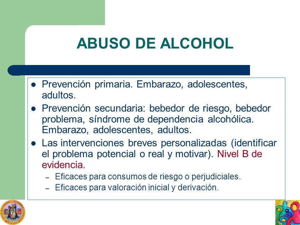 ABUSO DE ALCOHOL Prevención primaria. Embarazo, adolescentes, adultos. Prevención secundaria: bebedor de riesgo, bebedor problema, síndrome de depende