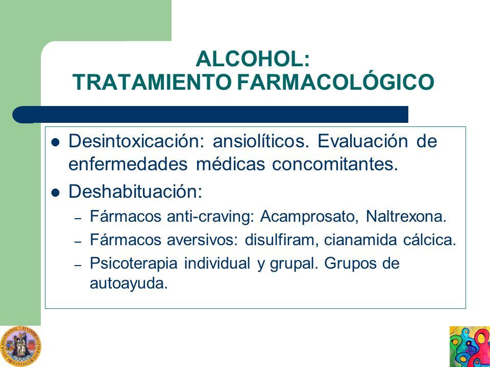 ALCOHOL: TRATAMIENTO FARMACOLÓGICO Desintoxicación: ansiolíticos. Evaluación de enfermedades médicas concomitantes. Deshabituación: – Fármacos anti-cr