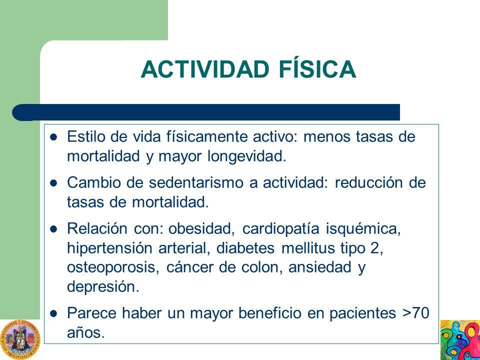 ACTIVIDAD FÍSICA Estilo de vida físicamente activo: menos tasas de mortalidad y mayor longevidad. Cambio de sedentarismo a actividad: reducción de tas