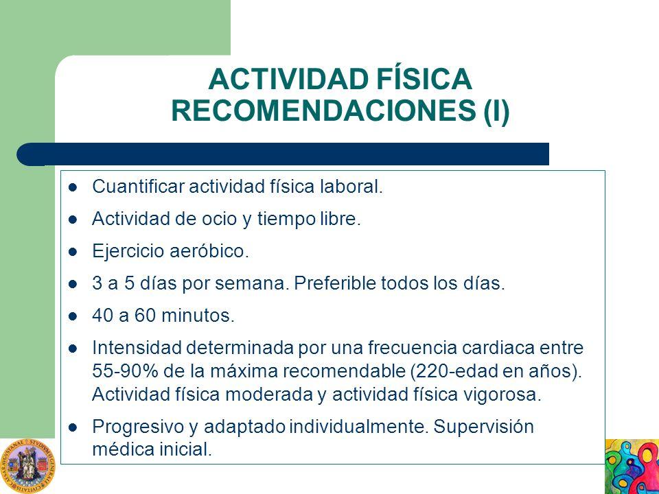 ACTIVIDAD FÍSICA RECOMENDACIONES (I) Cuantificar actividad física laboral. Actividad de ocio y tiempo libre. Ejercicio aeróbico. 3 a 5 días por semana