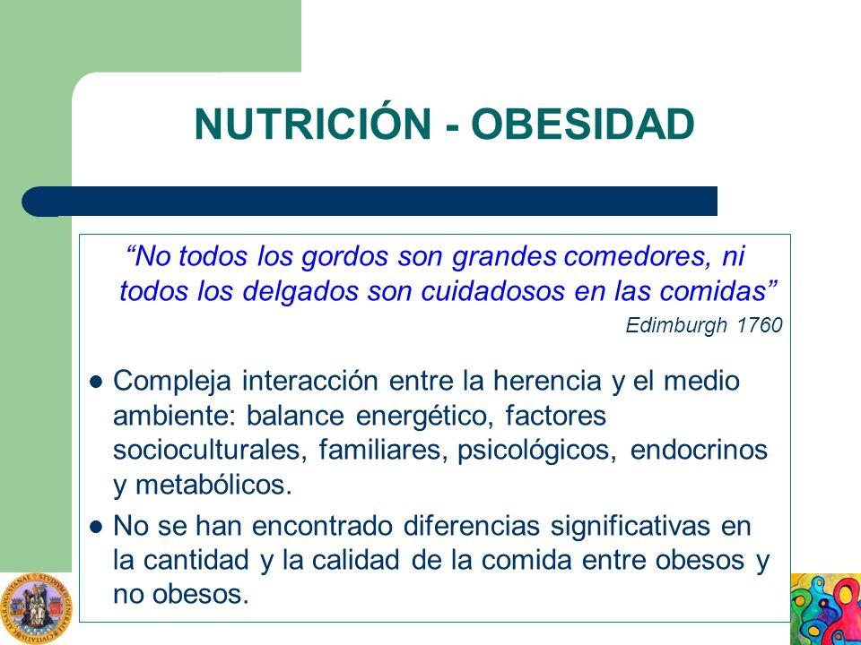NUTRICIÓN - OBESIDAD No todos los gordos son grandes comedores, ni todos los delgados son cuidadosos en las comidas Edimburgh 1760 Compleja interacció