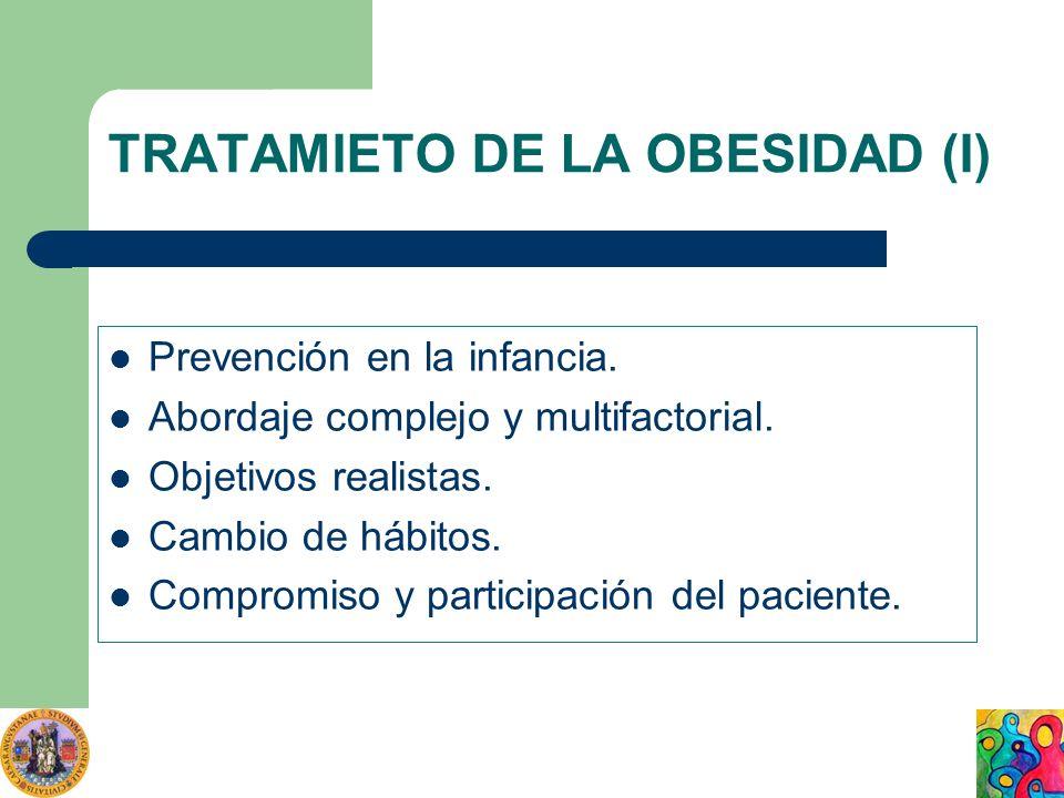 TRATAMIETO DE LA OBESIDAD (I) Prevención en la infancia. Abordaje complejo y multifactorial. Objetivos realistas. Cambio de hábitos. Compromiso y part