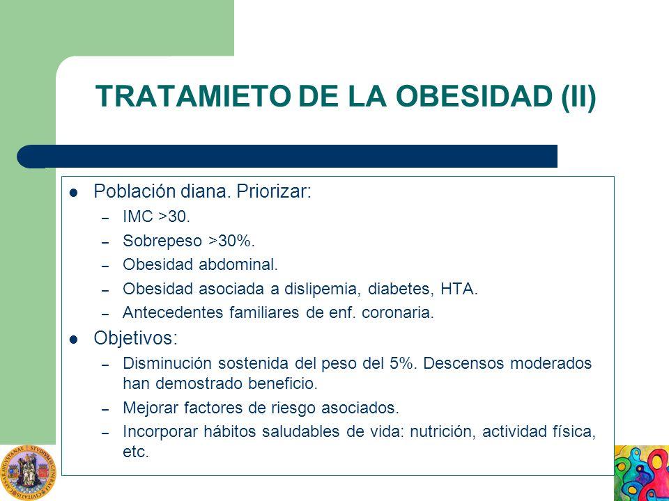 TRATAMIETO DE LA OBESIDAD (II) Población diana. Priorizar: – IMC >30. – Sobrepeso >30%. – Obesidad abdominal. – Obesidad asociada a dislipemia, diabet
