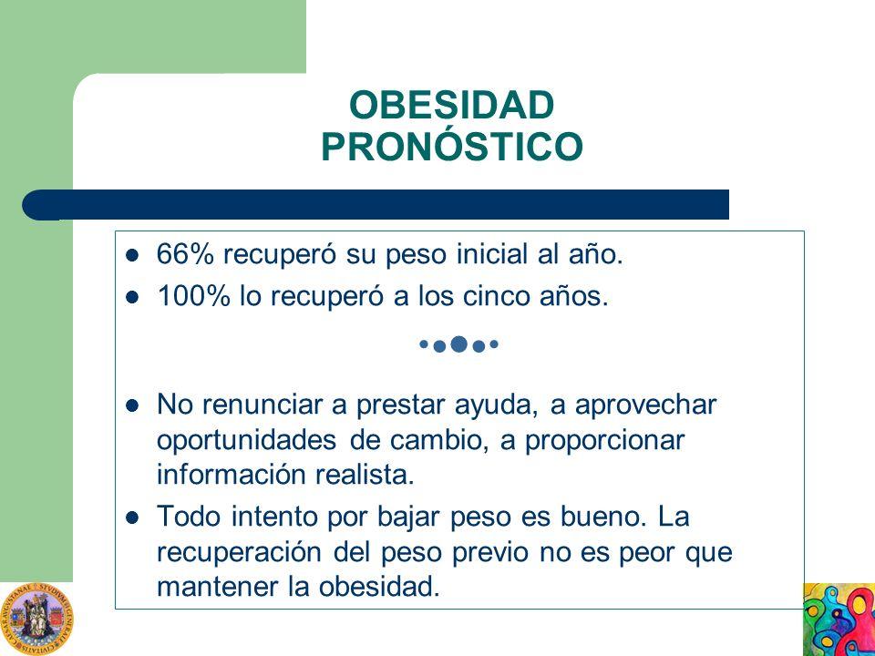 OBESIDAD PRONÓSTICO 66% recuperó su peso inicial al año. 100% lo recuperó a los cinco años. No renunciar a prestar ayuda, a aprovechar oportunidades d