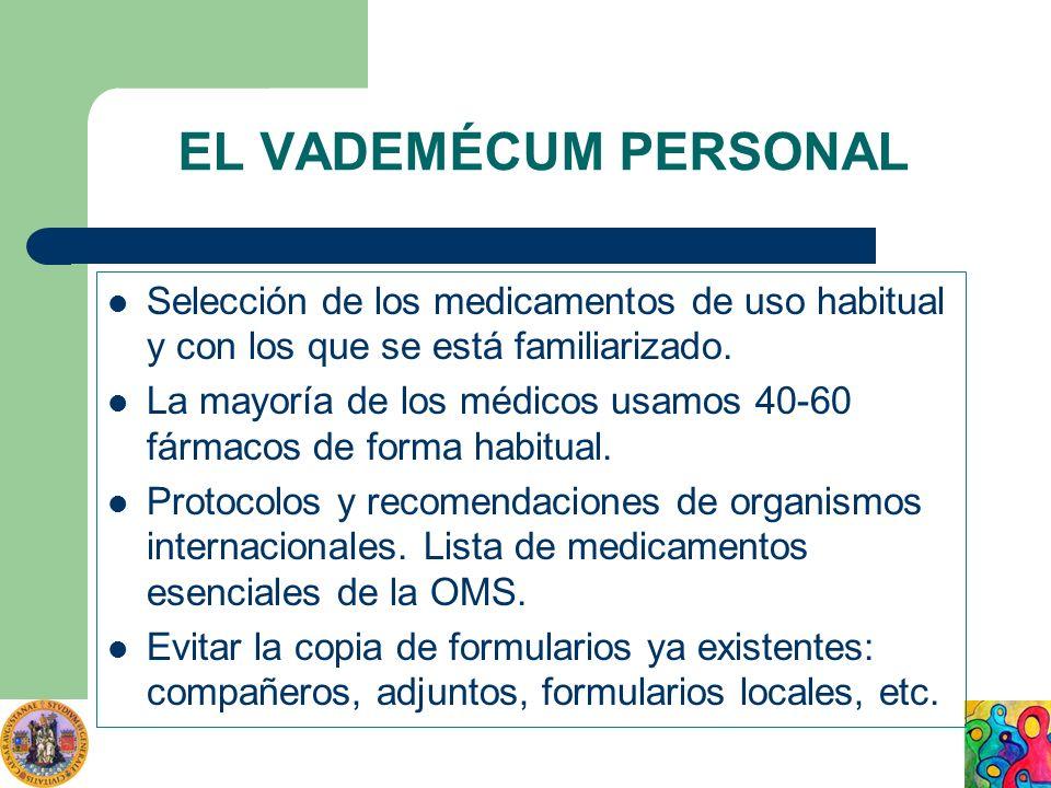 EL VADEMÉCUM PERSONAL Selección de los medicamentos de uso habitual y con los que se está familiarizado. La mayoría de los médicos usamos 40-60 fármac
