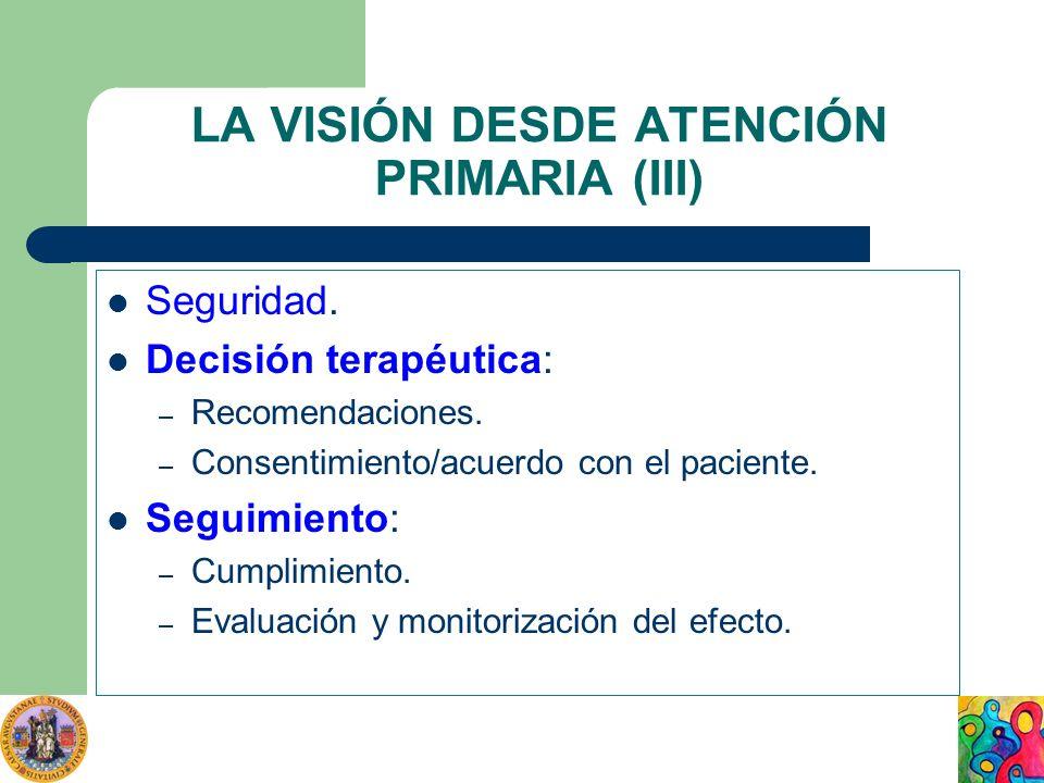 LA VISIÓN DESDE ATENCIÓN PRIMARIA (III) Seguridad. Decisión terapéutica: – Recomendaciones. – Consentimiento/acuerdo con el paciente. Seguimiento: – C