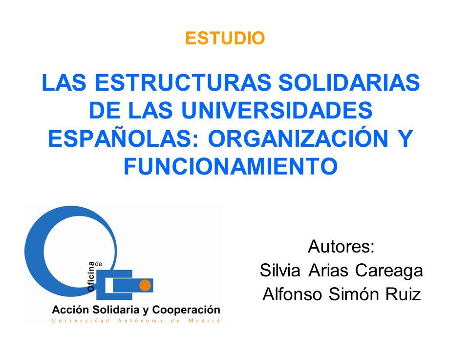 LAS ESTRUCTURAS SOLIDARIAS DE LAS UNIVERSIDADES ESPAÑOLAS: ORGANIZACIÓN Y FUNCIONAMIENTO Autores: Silvia Arias Careaga Alfonso Simón Ruiz ESTUDIO