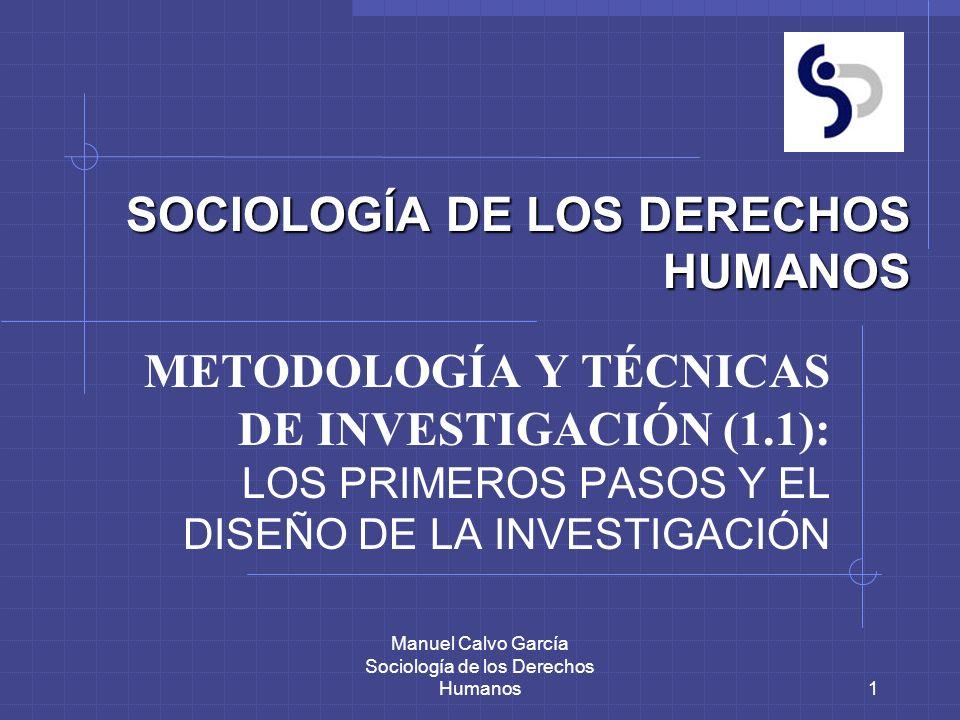 Manuel Calvo García Sociología de los Derechos Humanos2 LOS PRIMEROS PASOS Y EL DISEÑO DE LA INVESTIGACIÓN PROLEGOMENOS 1.1.