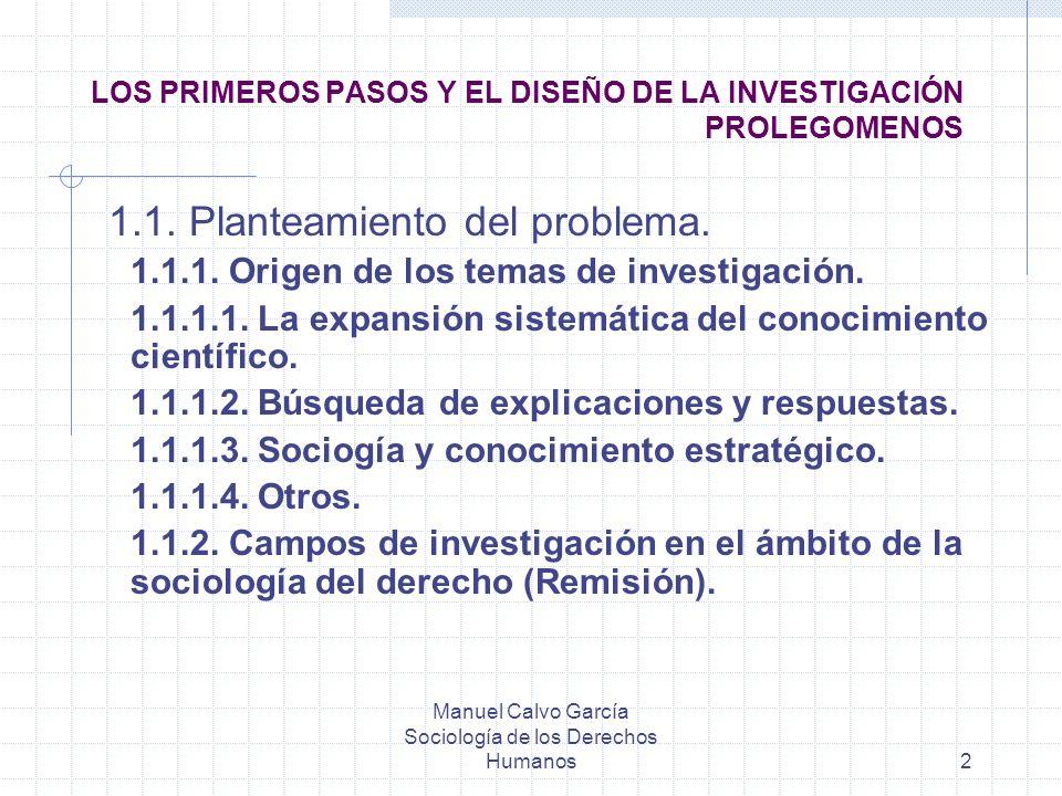 Manuel Calvo García Sociología de los Derechos Humanos2 LOS PRIMEROS PASOS Y EL DISEÑO DE LA INVESTIGACIÓN PROLEGOMENOS 1.1. Planteamiento del problem