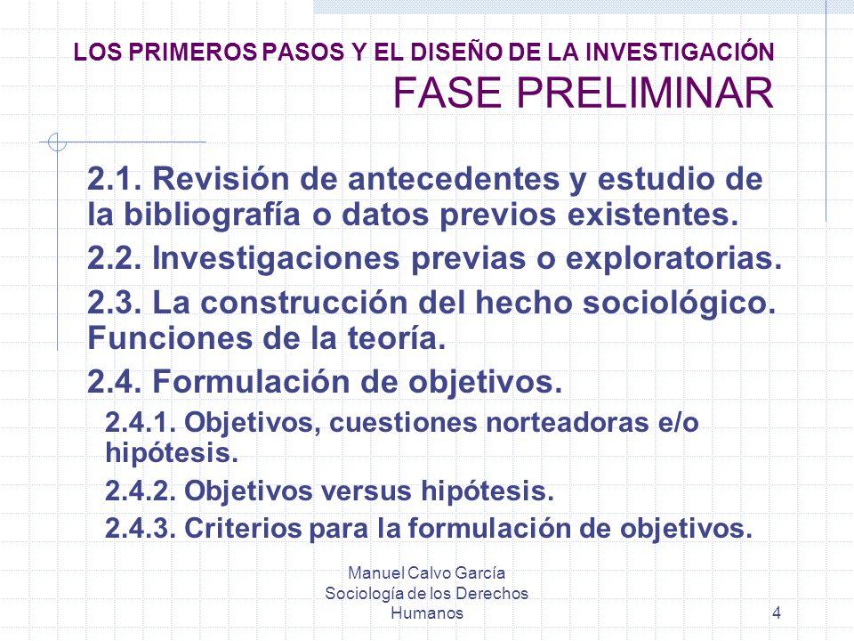 Manuel Calvo García Sociología de los Derechos Humanos4 LOS PRIMEROS PASOS Y EL DISEÑO DE LA INVESTIGACIÓN FASE PRELIMINAR 2.1. Revisión de antecedent