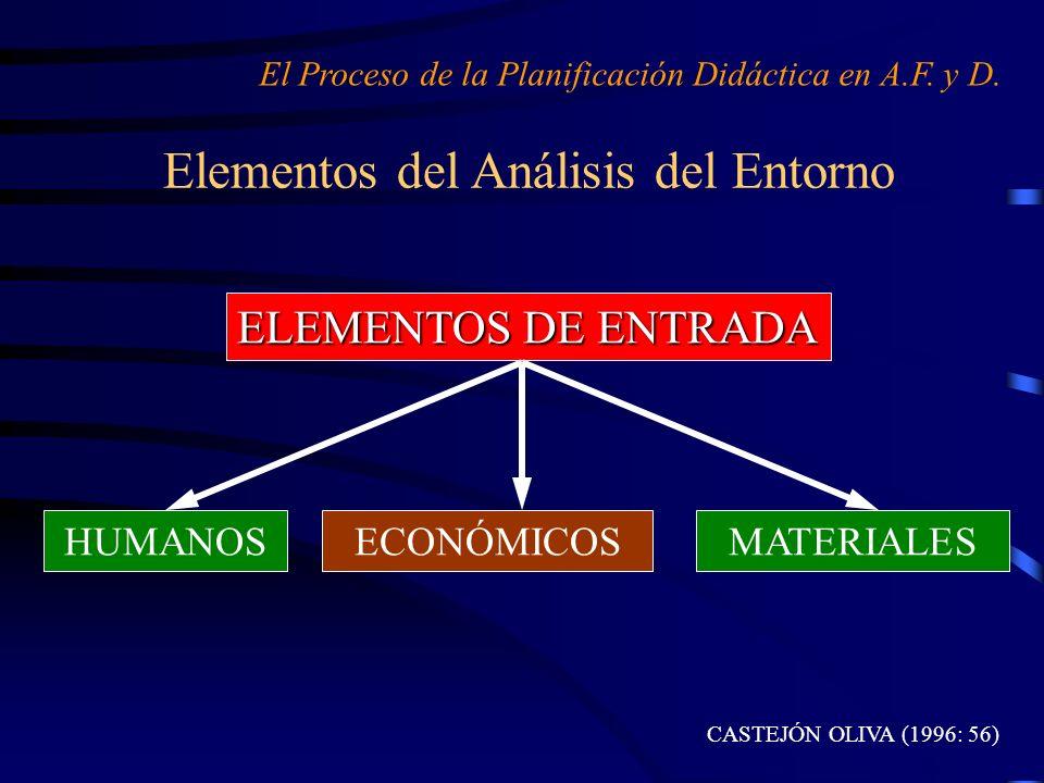 Elementos del Análisis del Entorno El Proceso de la Planificación Didáctica en A.F. y D. HUMANOS ELEMENTOS DE ENTRADA CASTEJÓN OLIVA (1996: 56) ECONÓM